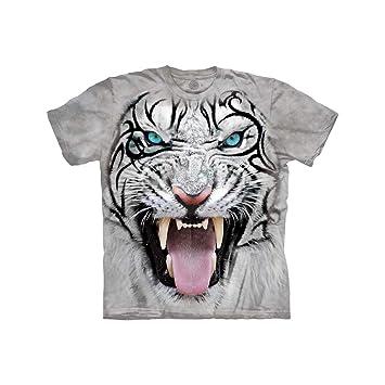1951a2e468e6f Amazon.com: The Mountain Kids Big Face Tribal White Tiger T-Shirt ...