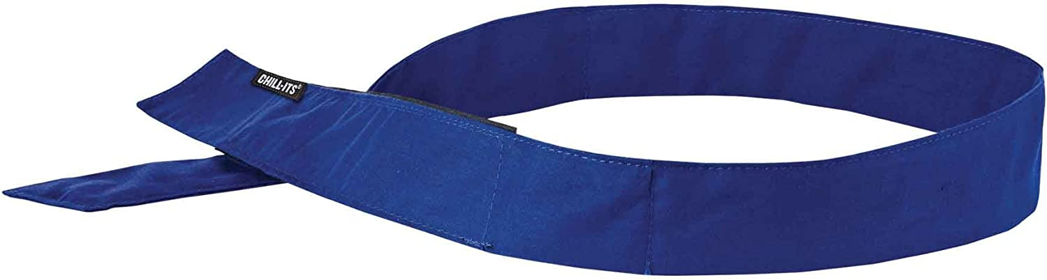 Cooling Bandana, Blue, Evaporative Polymer Crystals for Cooling Relief, Quick and Secure Fit, Ergodyne Chill Its 6705