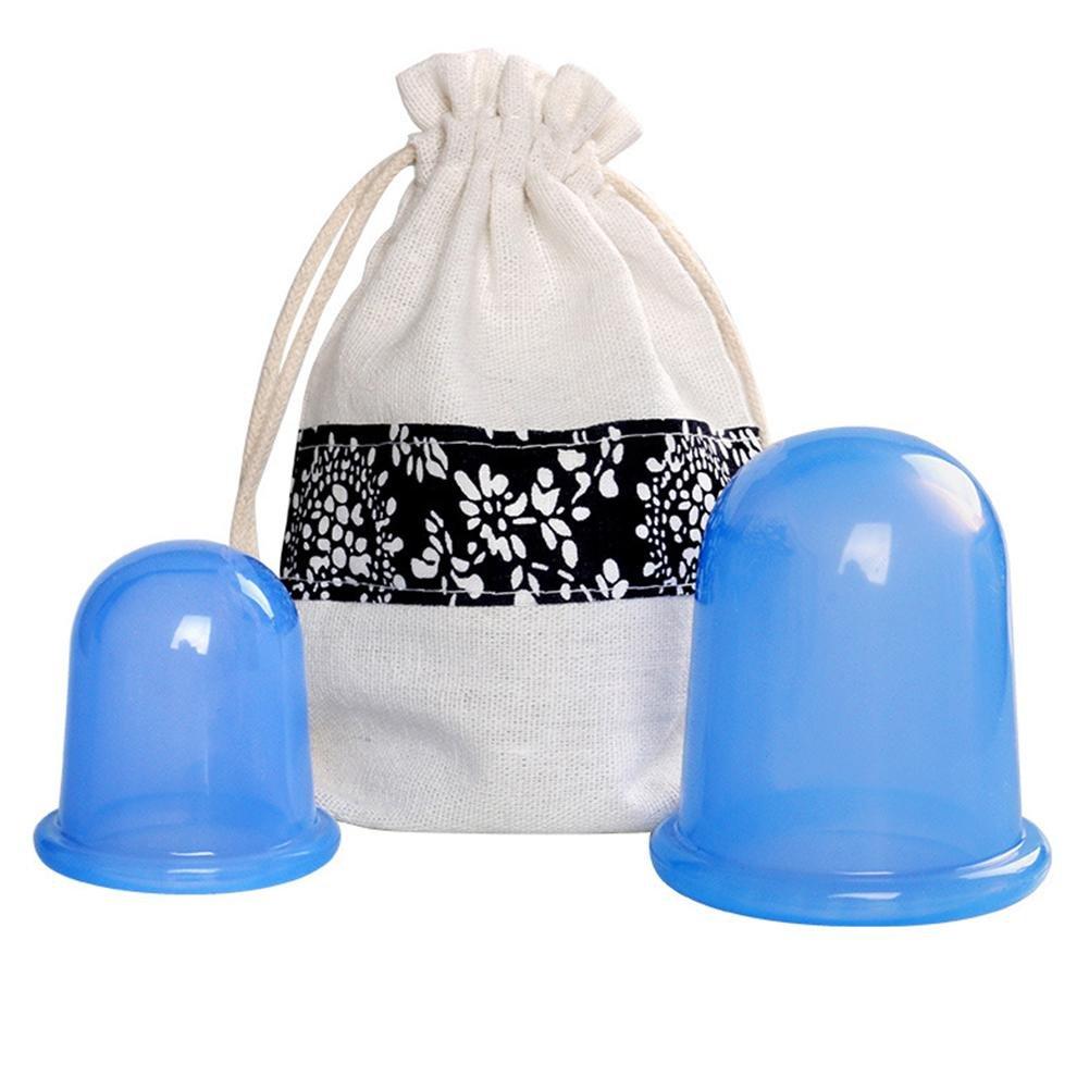 2 Unidades Por Juego Anti Celulitis Silicona Vacío Terapia de masaje Succión Ventosas Cuidado de la salud Herramienta de ahuecamiento Silicone Massage Roller Kit para Anti Celulitis