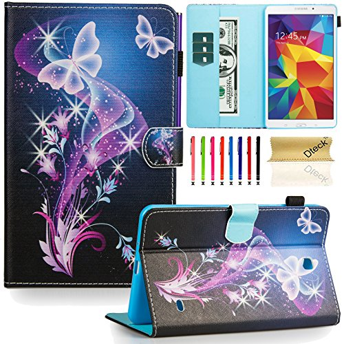 Tab 4 8.0 inch case,T330 case, Dteck(TM) Flip Stand PU Leather Case with Cards/Money Slots [Auto Wake/Sleep Feature] Protective Case Cover for Samsung Galaxy Tab 4 8.0 inch SM-T330, Twinkle Butterfly