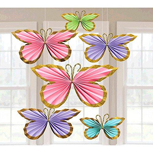 Pastel Glitter Butterfly Fan Decorations (6pc) Butterfly Pastel