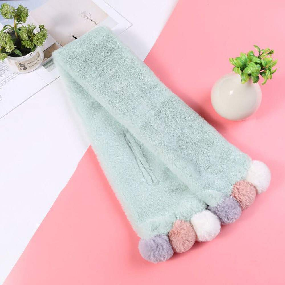 Mint Green B Boys Girls Adorable Thick Thermal Cozy Plush Neck Warmer Scarf Wraps with Pom Children Xmas Gift Kids Toddlers Teens Soft Winter Warm Scarf