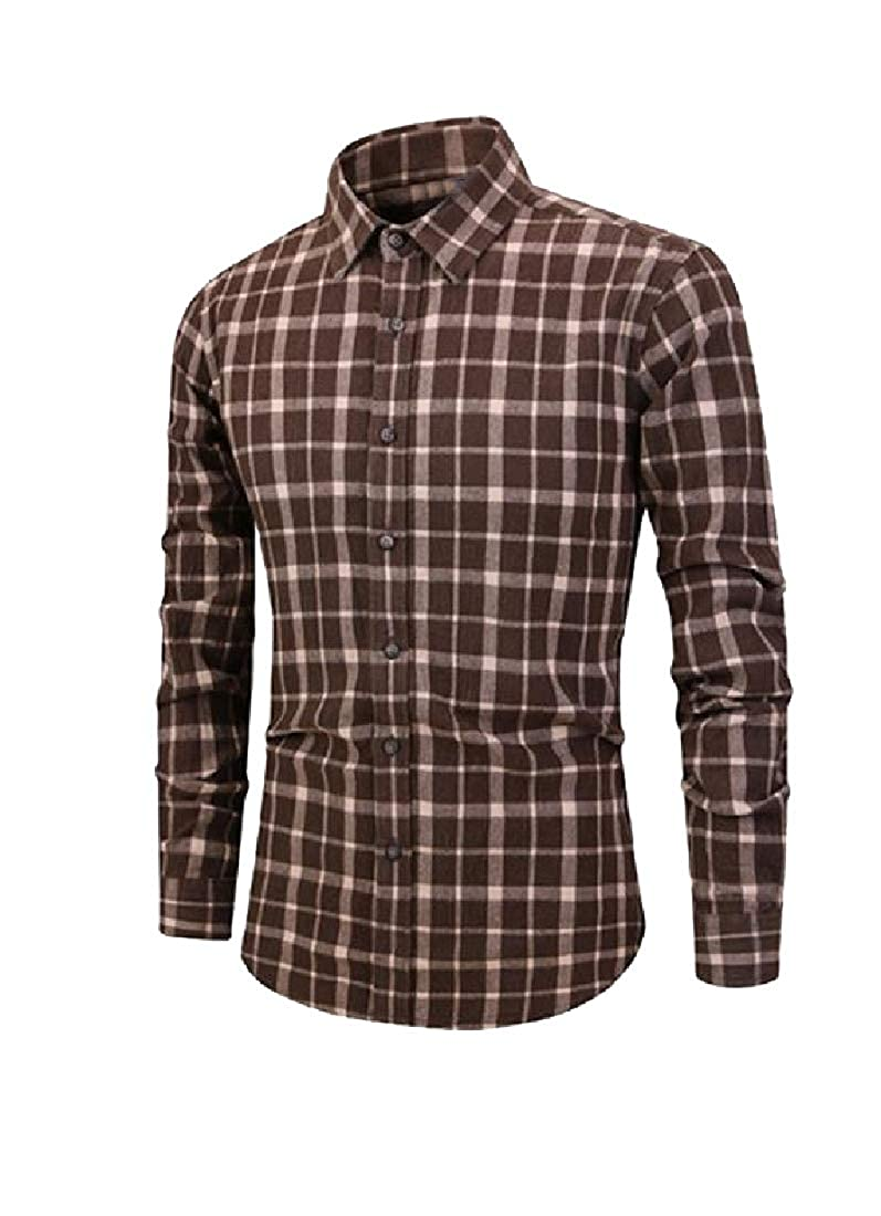 RDHOPE-Men Long Sleeve Single Breasted Vintage Wash Trim-Fit Work Shirt