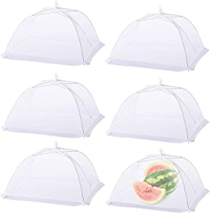 Calien Mesh Food Covers Pop-Up Food Tent Umbrella 6 Pack Large 17 inch Reusable and Collapsible Screen Net Protectors for Outdoors Parties Picnics BBQs