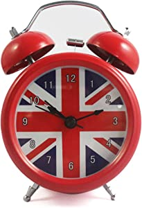 Vintage Alarm Clock British London Flag Table Desk Alarm Clock No Ticking Kids Children Clock,Red Color