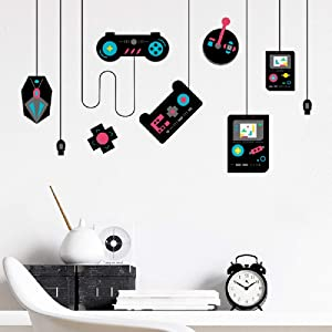 Amaonm Removable Creative Game Controllers Vinyl Wall Decal Peel & Stick Art Decor Games Wall Stickers for Kids Children Boy Bedroom Playroom Nursery Walls Background Decoration (30