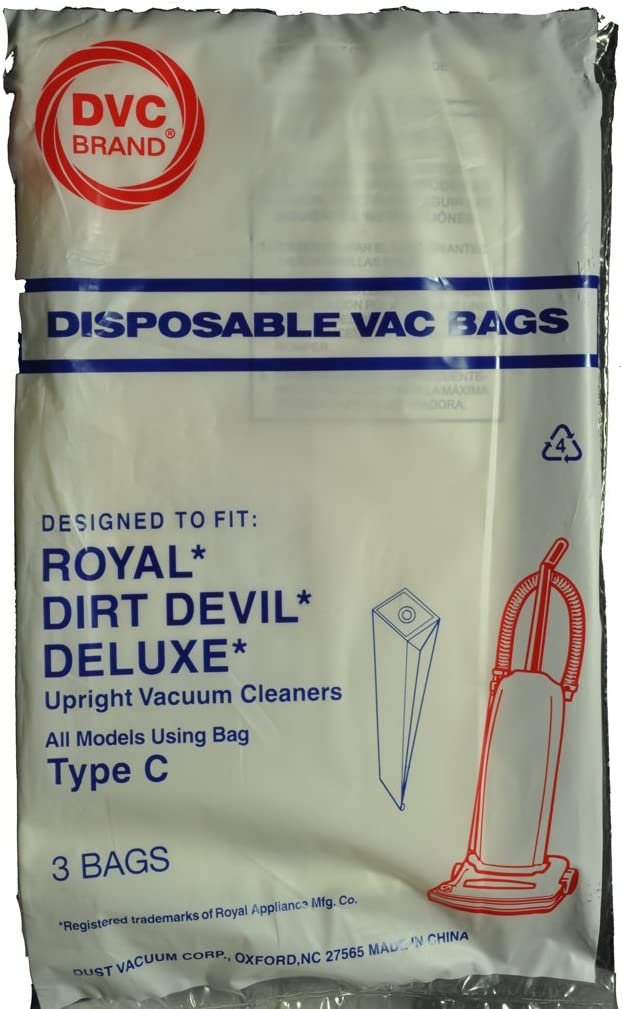 Dirt Devil Type C Upright Vacuum Cleaner Bags, DVC Replacement Brand, designed to fit Dirt Devil Deluxe Upright Vacuum Cleaners using Type C bags, 3 bags in pack