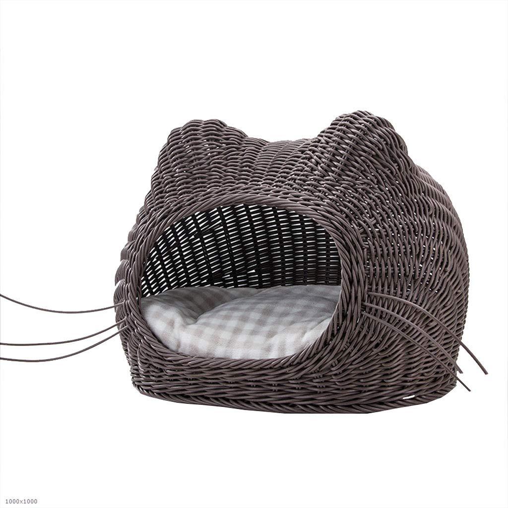 Huangyingui Pet Rattan Nest, Summer Cat House Cat Sleeping Bag Supplies Kennel Pet Nest Four Seasons Dog House Dog Fence (Size   3-M3520)