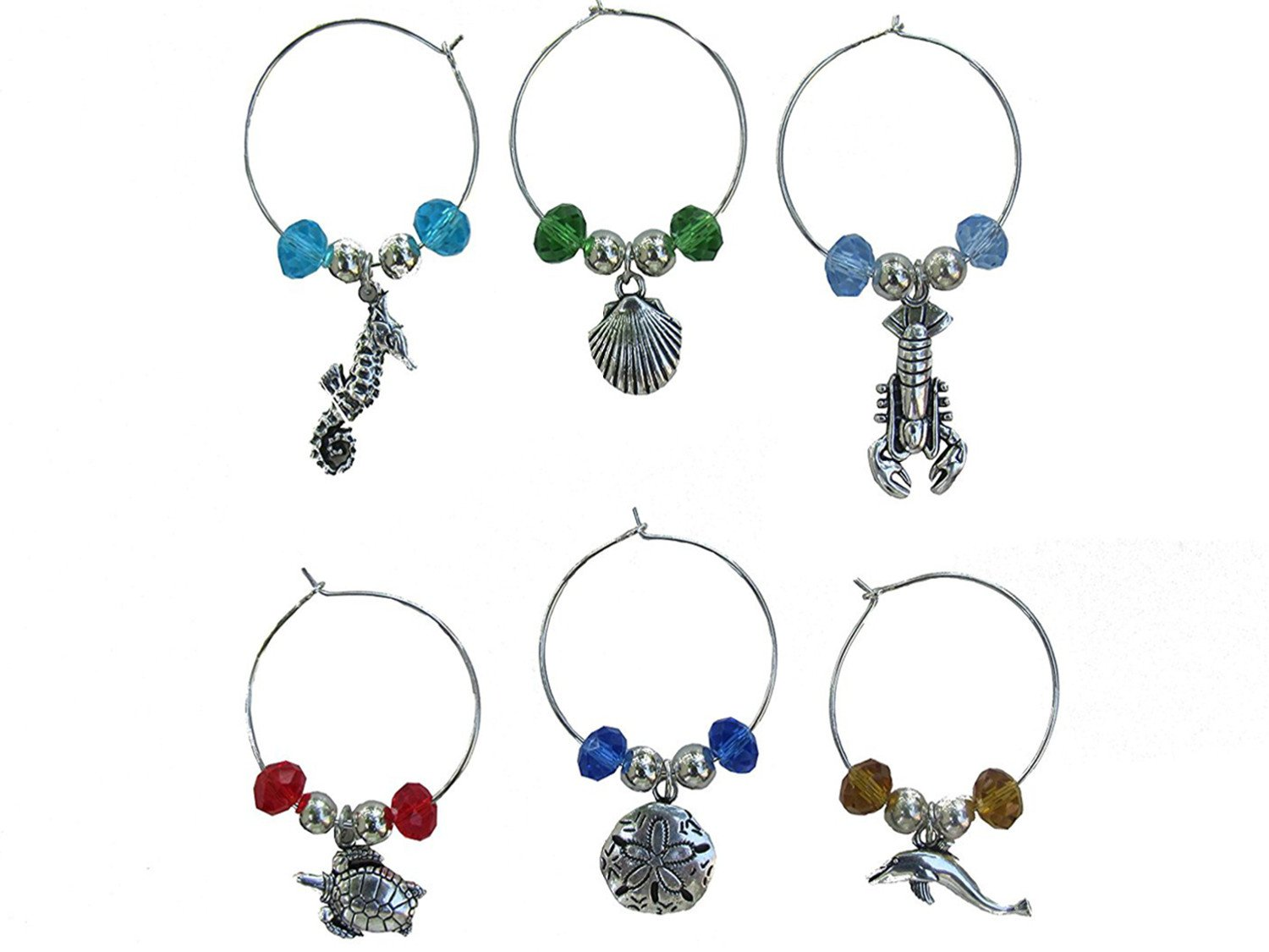 WINE GLASS (tag/marker) SEASHORE CHARMS - set of 6 (style 1)