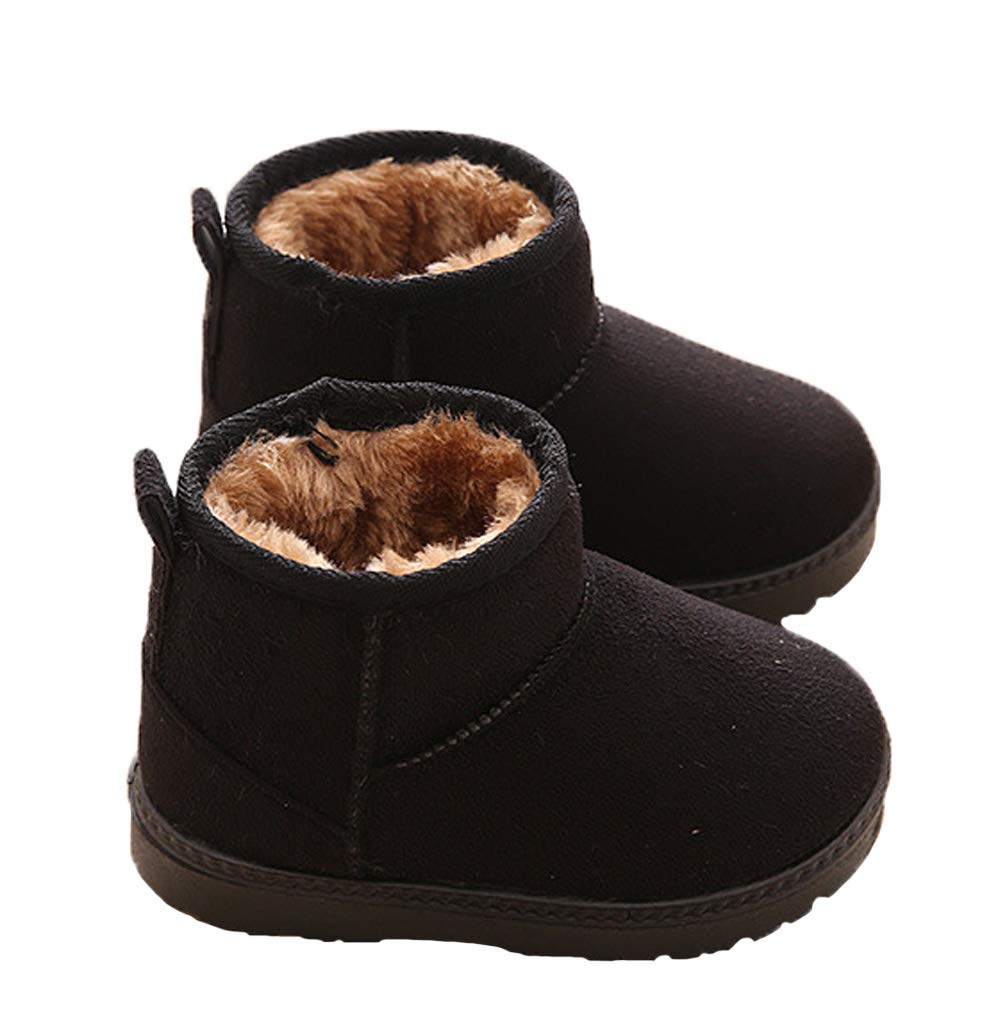 WUIWUIYU Kids' Boys' Girls' Round Toe Outdoor Warm Fur Lined Winter Snow Boots Toddler Little Kid by WUIWUIYU (Image #3)