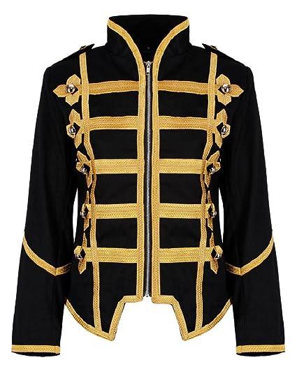 Ro Rox Womens Military Parade Emo Punk Drummer Jacket - Black & Gold ...