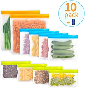 LOBKIN Reusable Storage Bags,10 Pack BPA-Free Silicone Food Freezer Bags (2 Gallon Bags + 4 Leakproof Reusable Sandwich Bags + 4 Snack Bags) Ziplock Lunch Storage Bags for Marinate Meats, Fruit ect
