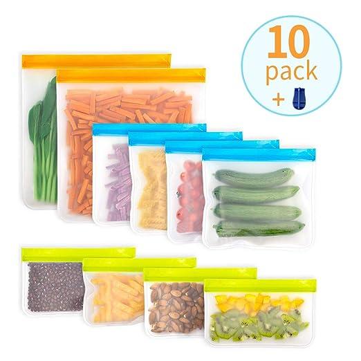 LOBKIN Bolsas Reutilizables de Almacenamiento de Alimentos,Sin BPA Biodegradables, Bolsas Congelar Reutilizables,10Paquetes Bolsas para ...