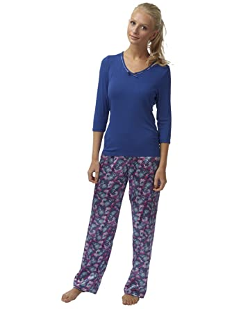 e6c173cacd SaneShoppe Ladies Charmeuse Satin Pyjamas 3 4 Sleeve Butterfly Print  Viscose Top (8 UK