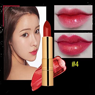 Lápiz de labios de larga duración, KanLin1986 Gold Glitter Pigment Metallic Lip Gloss Lipstick Lip Maquillaje Herramienta D