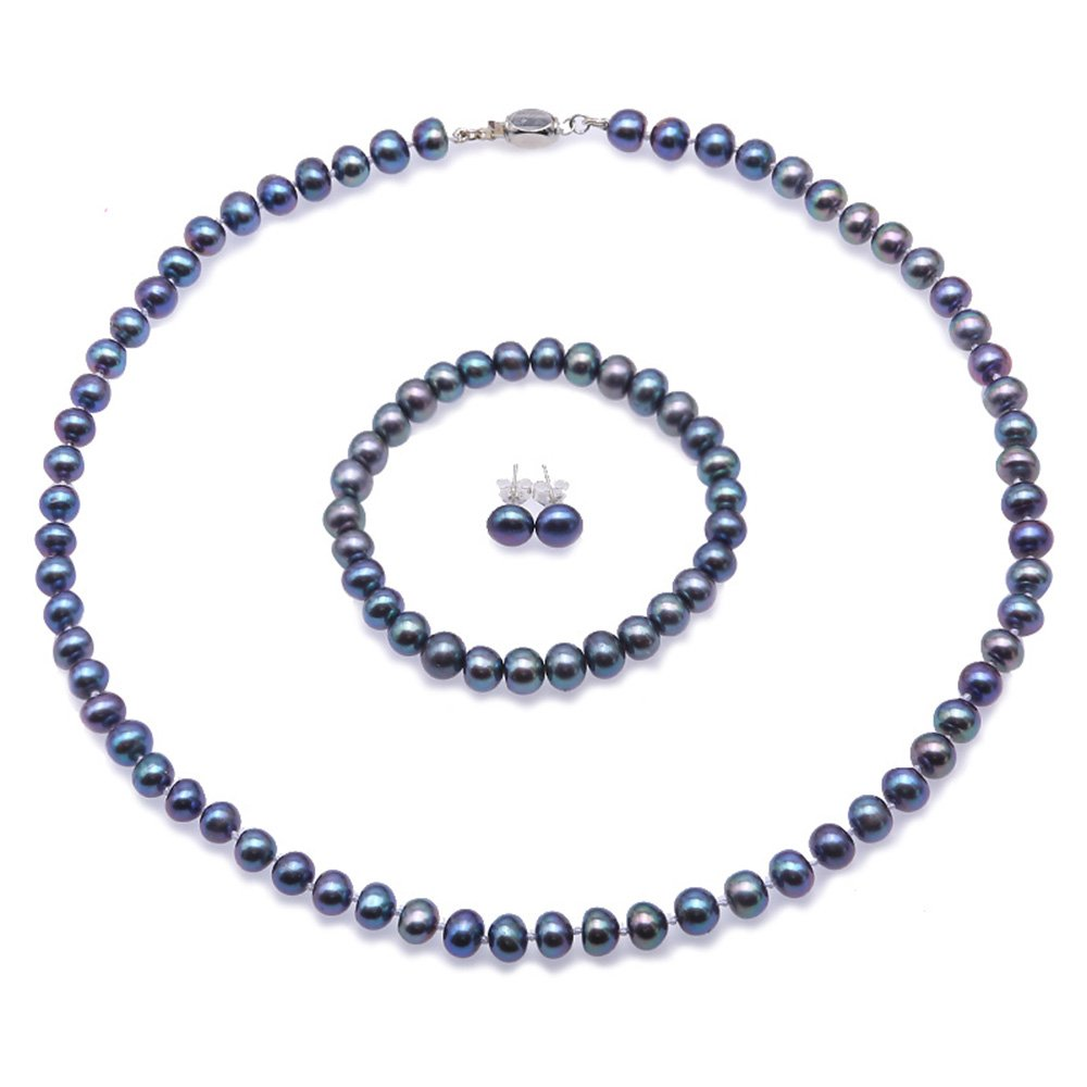 JYX Pearl Necklace Set AA 7-8mm Natural Freshwater Cultured Pearl Necklace Bracelet and Earrings Set for Women