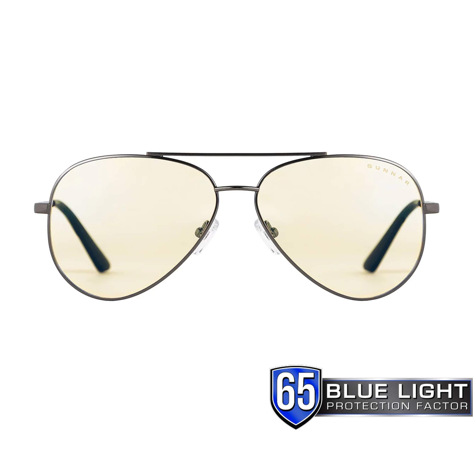 GUNNAR Gaming and Computer Eyewear/Maverick, Amber Tint - Patented Lens, Reduce Digital Eye Strain, Block 65% of Harmful Blue Light