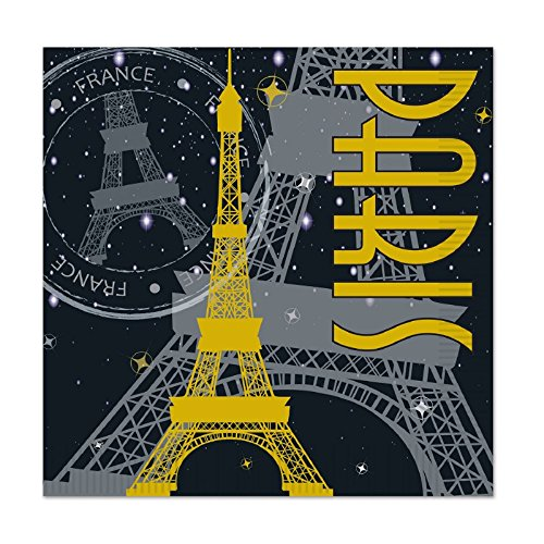 Club Pack of 192 Black, Gray and Yellow Paris Theme Party Disposable 2-Ply Luncheon Napkins