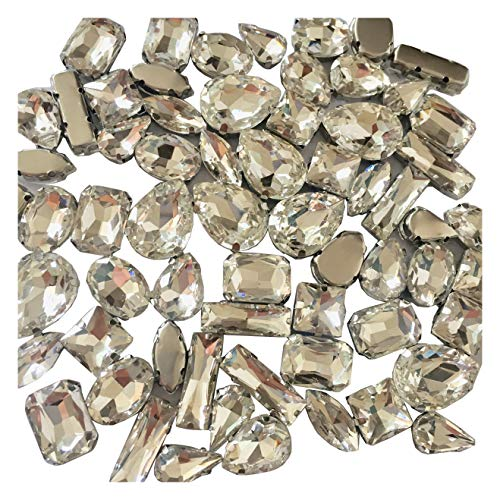 Rhinestones Loose (HONESH 32pcs Mix Shape Sew on Glass Crystal Diamante Rhinestone Craft, Hole: 1mm)