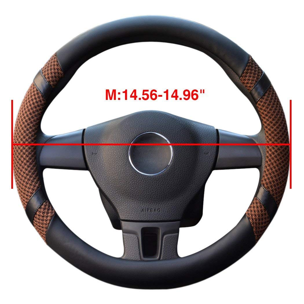 LucaSng Universal Steering Wheel Cover,14.56-14.96 PU Leather for fit Summer Honda//Toyota Car Vehicle Black,M