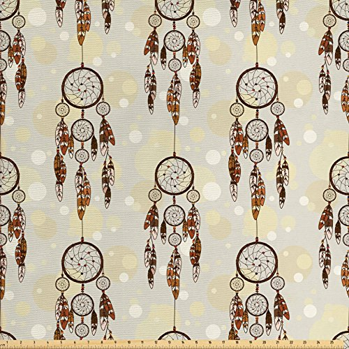 Ambesonne Native American Fabric by The Yard, Illustration of Tribal Style Boho Dreamcatchers in Retro Folk Art, Decorative Fabric for Upholstery and Home Accents, Cream and Chocolate
