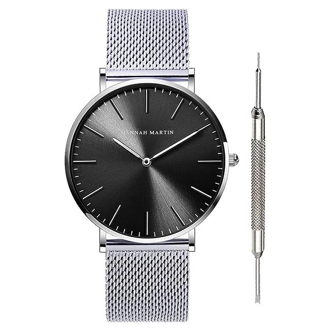 b1e6a978a63 Amazon.com  Hannah Martin Unisex Japan Quartz Wrist Watches for Loves   Gifts (Silver)  Watches
