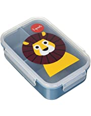 3 Sprouts Lunch Bento Box Leakproof 3 Compartment Lunchbox Container for Kids, Blue, Lion