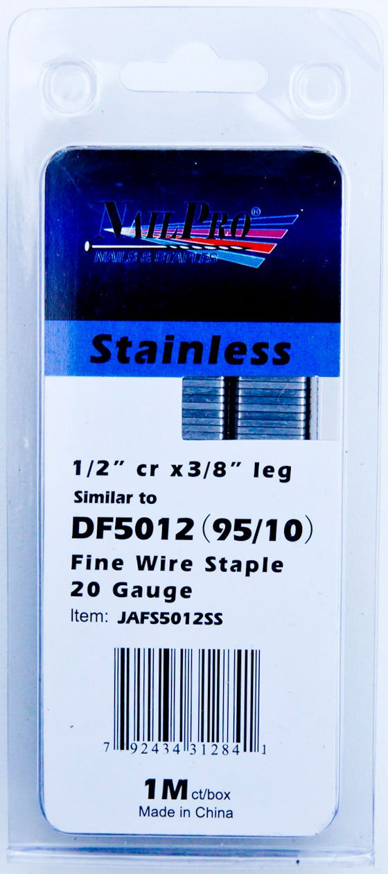 NailPRO 95/10SS 20 Ga 3/8'' Leg x 1/2'' Crown Stainless Steel Fine Wire Staples, 1000 Count