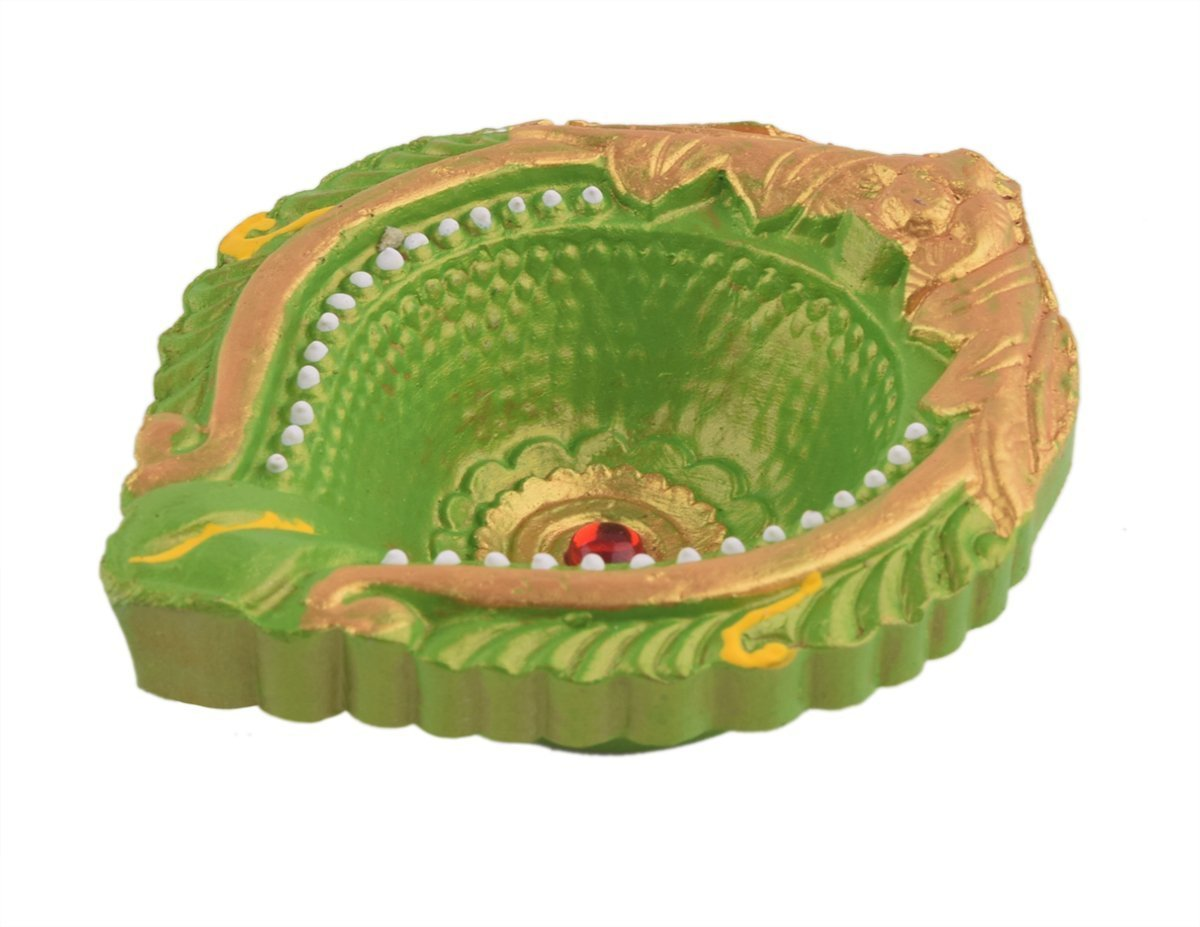 storeindya Set of 2 Oil Lamps Diyas Handmade Decorative Clay Candle Tea Light Holder Green Terracotta Clay Floor D/écor