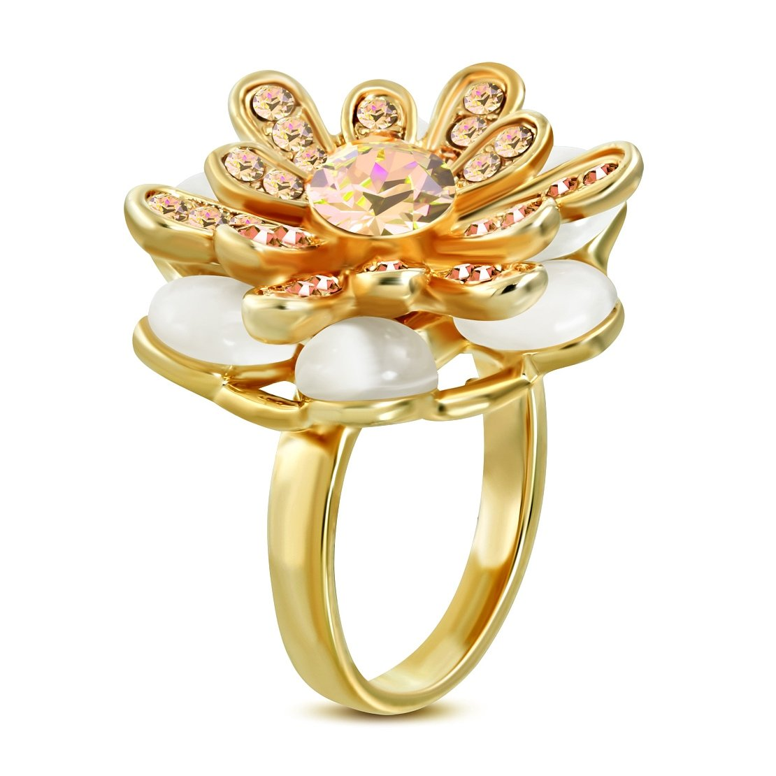 NRG 316L Jewelry Rose//Pink Gold Color Plated Flower Cocktail Ring with Clear CZ /& Cats Eyes Stone
