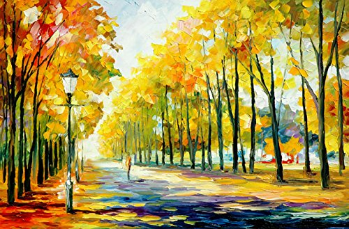 Scenery Oil Painting - Van Eyck Walking at the Autumn Scenery Colorful Palette Knife Oil Painting of Tree Wall Art Painting on Canvas Large Prints Pictures for Home Decorations,24x36 Inches unframed,HD133