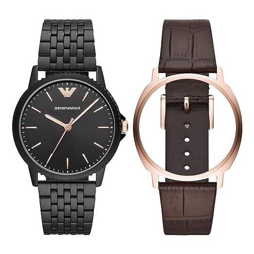 Emporio Armani Reloj Analógico para Hombre de Cuarzo con Correa en Acero Inoxidable AR80021: Amazon.es: Relojes