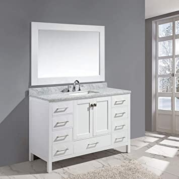 Design Element Dec082d W London 54 Single Sink Vanity Set In White