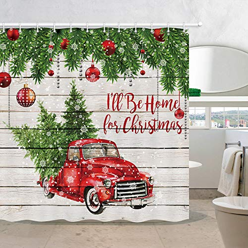Merry Christmas Shower Curtains, Colorful Christmas Balls with Pine Fir Tree, Polyester Fabric Red Retro Truck Car with Snowflake Xmas Tree on Rustic Wood Shower Curtain, Bathroom Accessory Sets, 70in (Shower Red)
