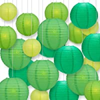 Quasimoon PaperLanternStore.com Ultimate 20pc Green Variety Paper Lantern Party Pack - Assorted Sizes of 6, 8, 10, 12…