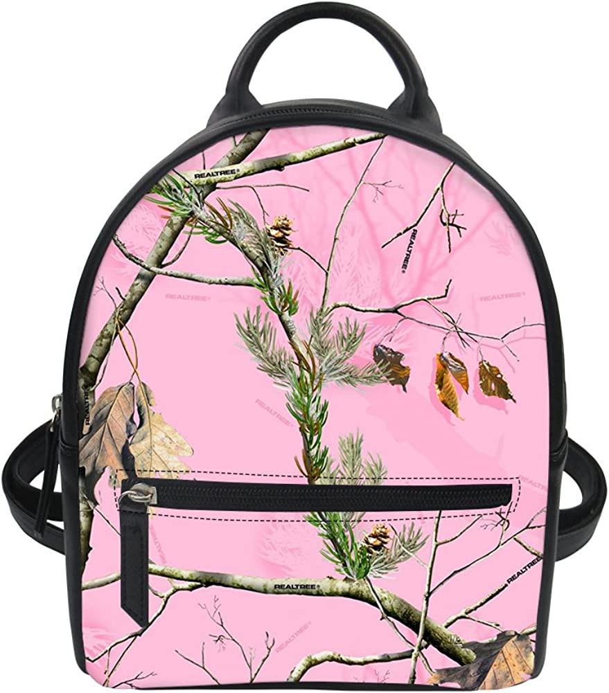 NewOxygen Realtree Pink Camo Fashion Shoulder Bag Rucksack PU Leather Women Girls Ladies Backpack Travel Bag