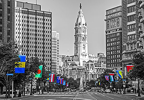 Philadelphia's City Hall Black and White with Colored International Flags Canvas Art Print (12x14) (Amaze Art Gallery)