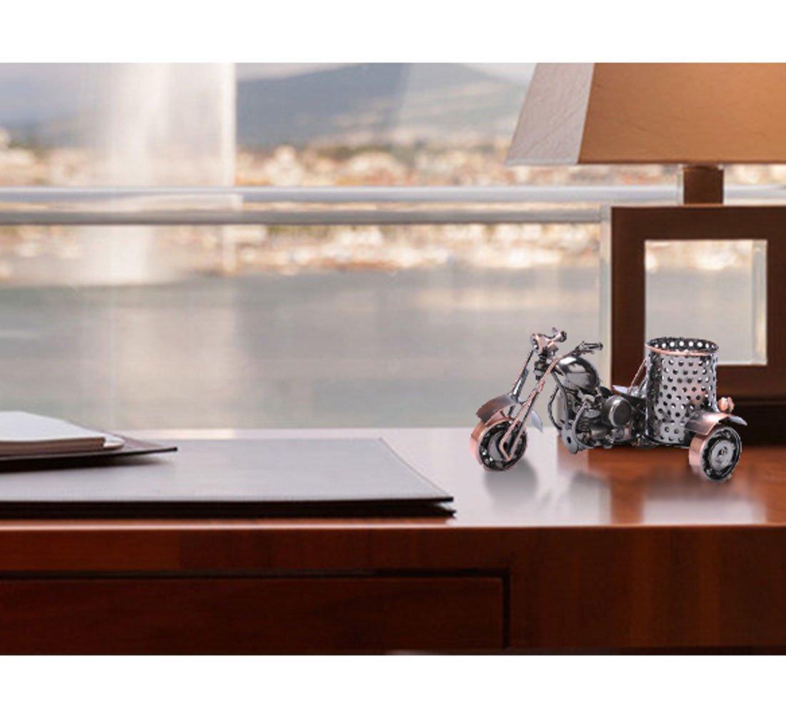 Teniusimall Motorcycle Pencil Holder,Metal Motorcycle Pen Holder,Creative Office Desktop Decorative Gift (Copper Color)