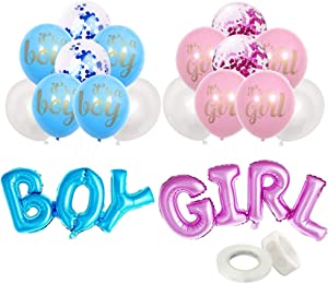 Gender Reveal Party Boy Or Girl Decorations Supplies Foil Mylar Balloons Pink & Blue Kit for Baby Shower Baby Reveal Props