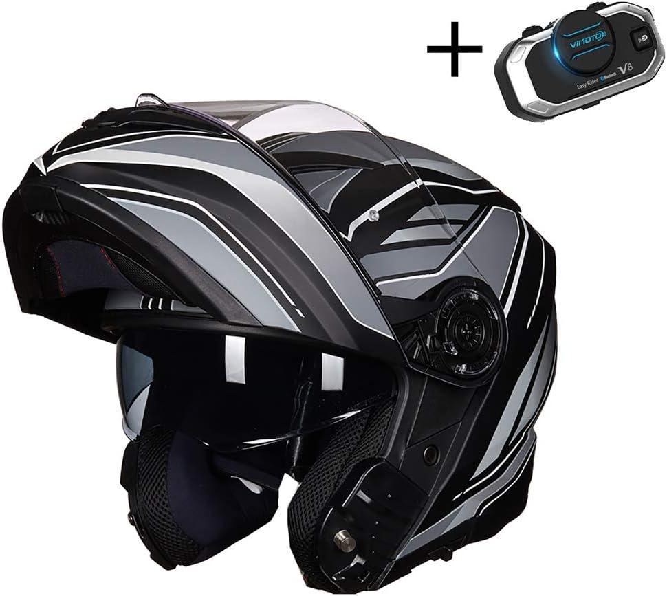 LALEO Casco Moto Modular Integral con Auriculares Bluetooth, ECE Certificado Transpirable Cálido Anti Niebla Hombres Mujeres Adulto M-2XL (55-63cm), Negro Blanco/Naranja/Azul
