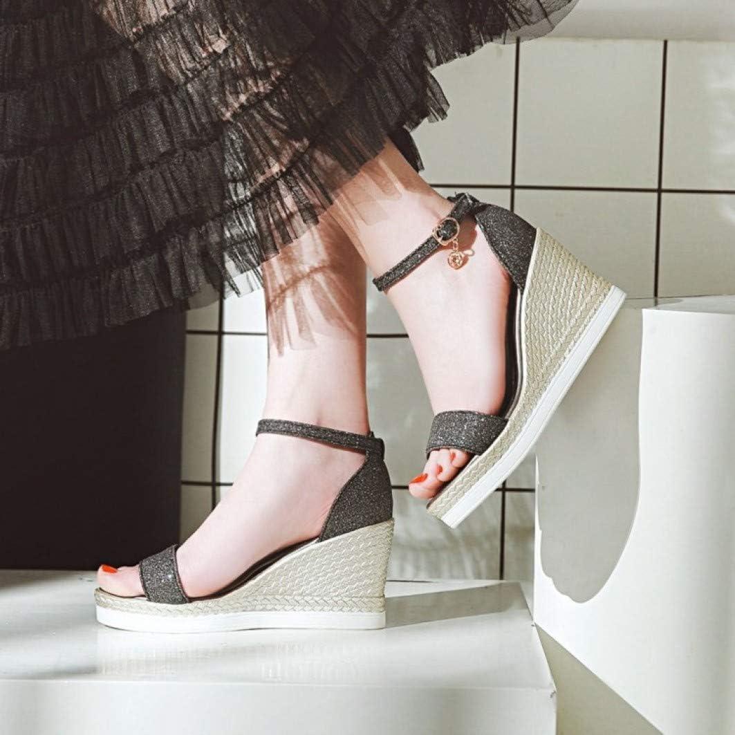Alpargata de Las Mujeres Sandalia de cuña con Lentejuelas Hebilla de Tela Fiesta Boda Zapatos de Vestir de tacón Alto Negro