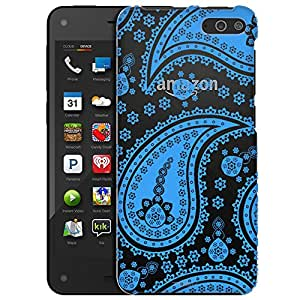 Amazon Fire Case, Slim Fit Snap On Cover by Trek Fun Paisley Blue Clear Case