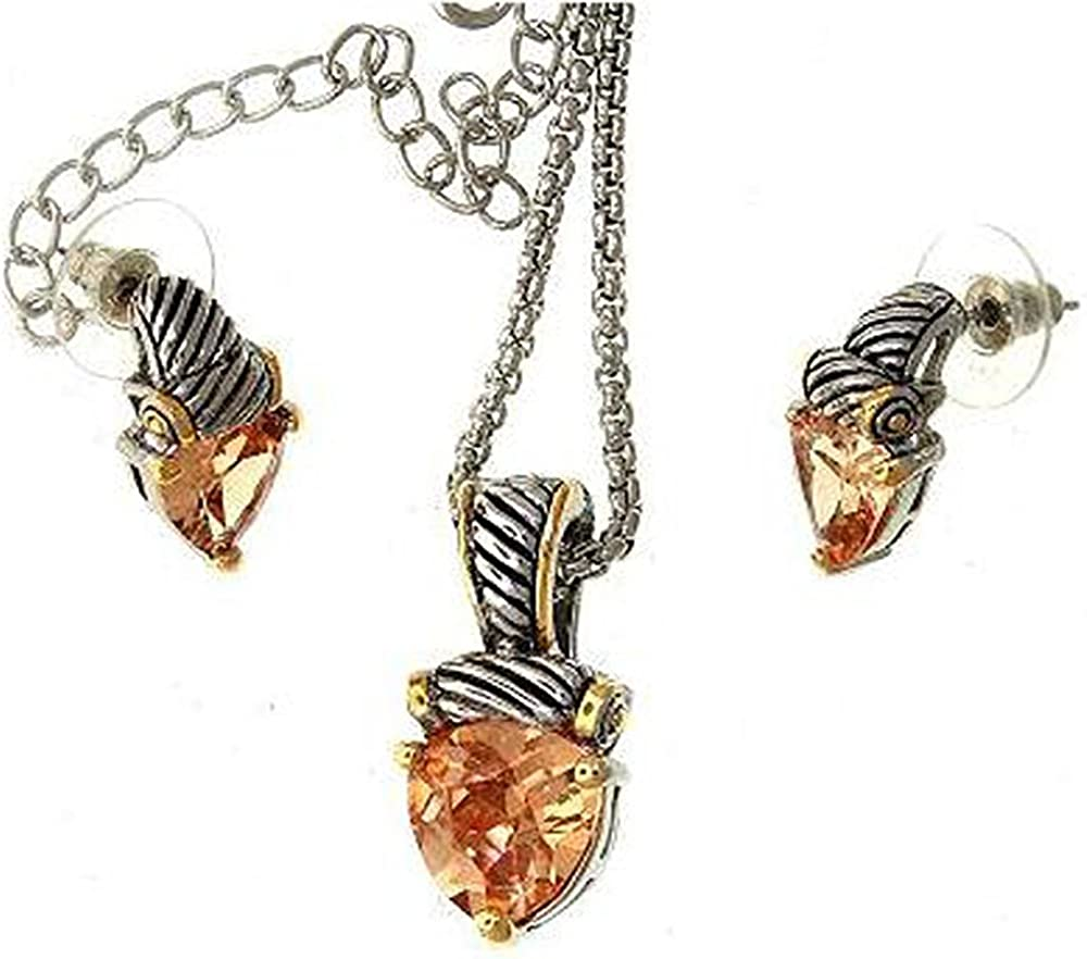 Two-tone Cable Twist Design Triangular Cut Cubic Zirconia Crystal Stone Pendant and Earring Set