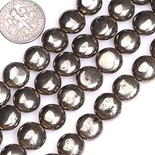 (GEM-inside Natural Pyrite Gemstone Loose Beads 10MM Coin Silver Gray For Bracelet Necklace Earrings Jewelry Making Crafts Design 15