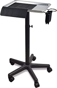Premium Aluminum Instrument Salon Tray W/Heat Resistant Mat & Accessory Caddy Tattoo Rolling Tray Station