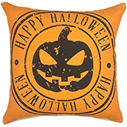 YOUR SMILE Festival Holiday Feast Cotton Linen Square Decorative Throw Pillow Case Cushion Cover 18x18 Inch(45CM45CM) (Halloween 4)