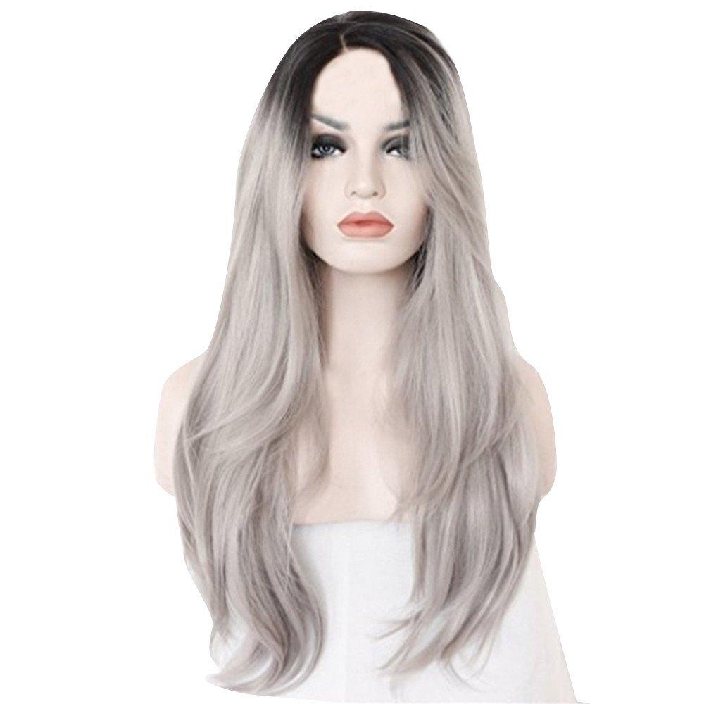 Bescita moda parrucche lungo naturale dei capelli lisci grigio argento parrucche di trucco (lunghezza: 70cm) Bescita1