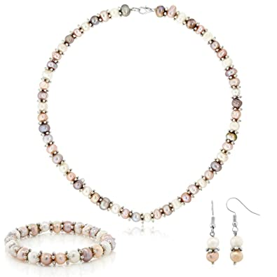 Amazon Com Gem Stone King Pink White Cultured Freshwater Pearl