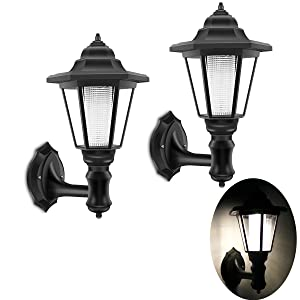 ALLOMN Outdoor Solar LED Lamp Wall Sconce,Waterproof Vintage Hexagonal Light Wall Mounted Security Garden Fence Yard Lamps,Plastic Material (Warm White) (2 Pack) - 2W
