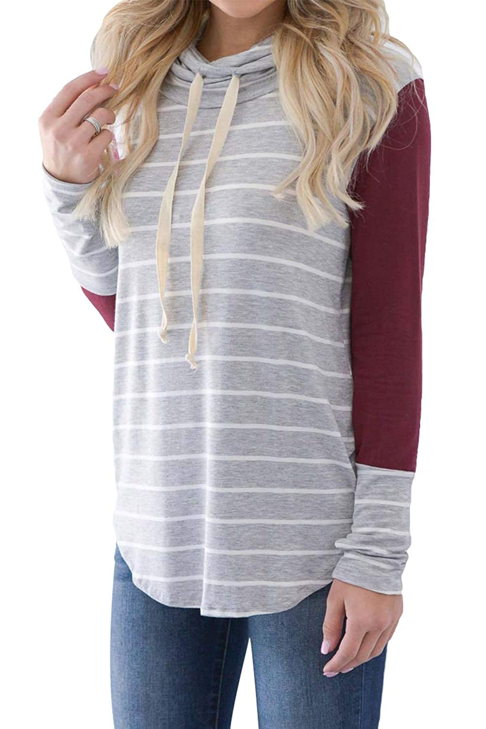 Dasbayla Womens Colour Block Striped Sweatshirts Long Sleeve Cowl Neck Casual Tunic Tops DASL-T3011-Sweatshirts